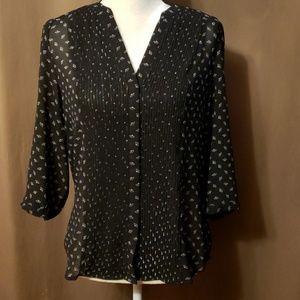 H&M - Sheer Blouse Black w/White Design Size 10